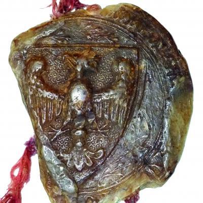 Orzeł Biały, Pieczęć majestatowa Przemysła II, Archiwum Diecezji Pelplińskiej; fot. P. Dąbkowski, Muzeum Sztuk Użytkowych Muzeum Narodowe w Poznaniu